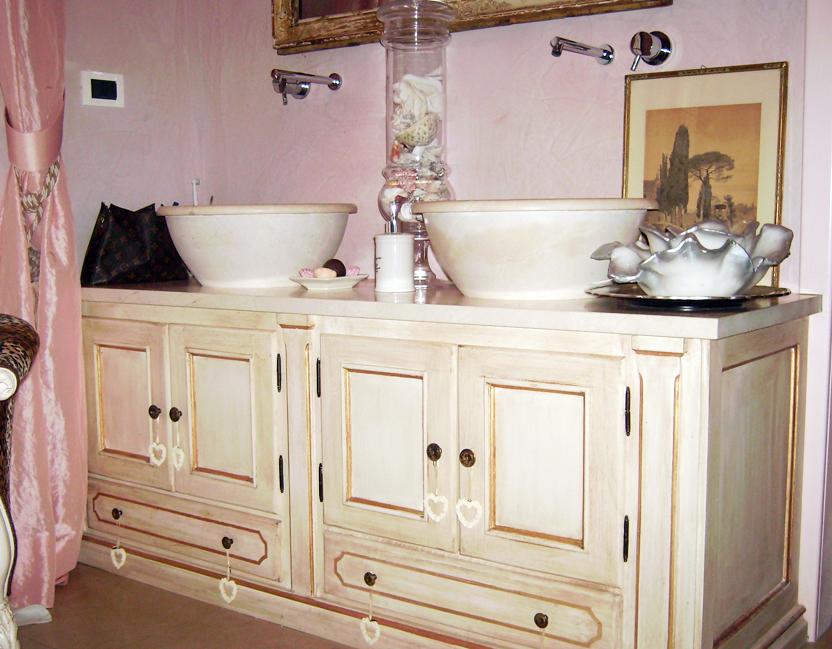 Emmevu mobile bagno in legno con decorazione bologna - Mobile bagno provenzale ...